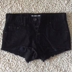 Free people button front denim shorts